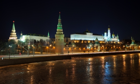 Kind to the Moscow Kremlin  and   Moskva River in winter night. Russia photo