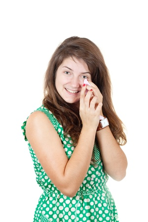 hankie: girl was crying from happiness, holding a handkerchief in his hand Stock Photo