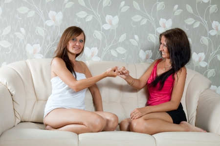 Two mid adult women having reconciliation in home photo