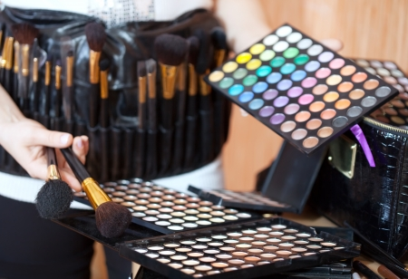 visagiste: Close up of female visagiste with cosmetics ready for job