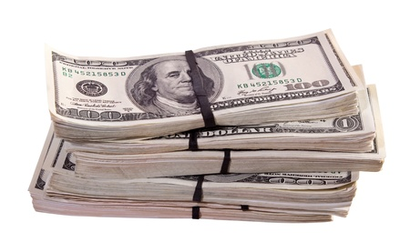 bundles of US dollars bank notes. Isolated on white background Stock Photo - 14463767