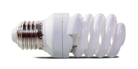 florescent light: Compact florescent light bulb. Isolated over white background with shade