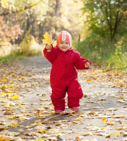 Happy toddler walking  in autumn park photo