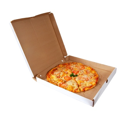 pizza in box. Isolated over white background photo