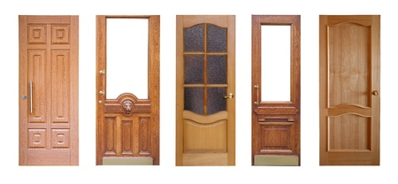 Set of wooden doors. Isolated over white background photo
