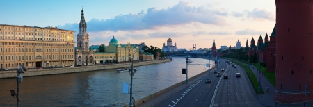 Panoramic view of Moscow in summer evening. Russia
