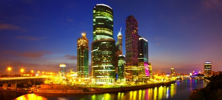 Panoramic view of Moscow City  in summer night  photo