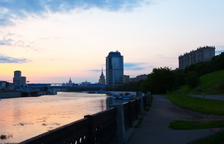 View of Moscow. Moskva River in summer morning  photo