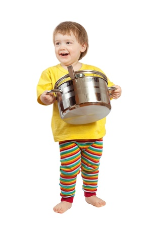 Baby cook with  pan over white background photo