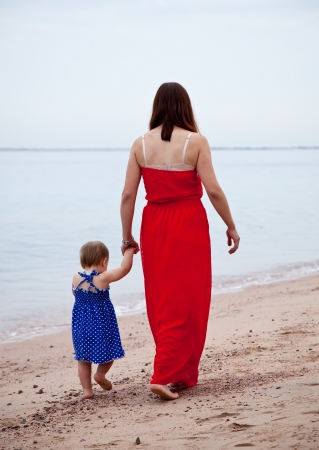Rear view of  mother with  toddler walking  on sand beach photo
