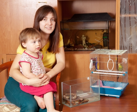 mother and daughter with  pets in home photo