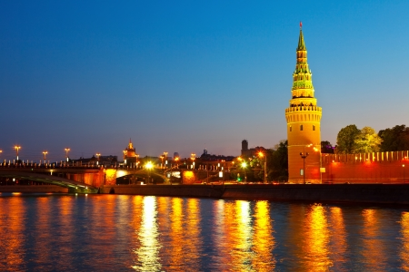 Kind to the Moscow Kremlin  and   Moskva River in night. Russia Stock Photo - 14537110