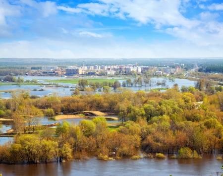 klyazma: Spring landscape with flooded trees Stock Photo