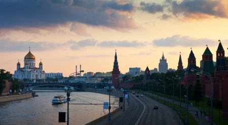 View of Moscow. Christ the Savior Cathedral and Kremlin in dusk. Russia