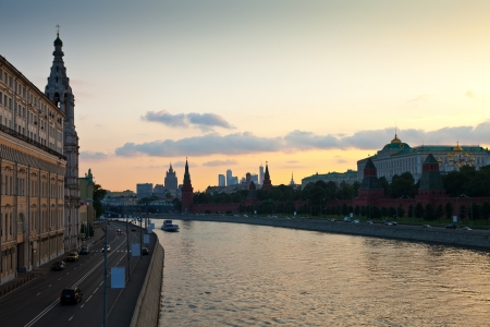 View of Moscow. St. Sofia embankment and Kremlin in  summer evening photo