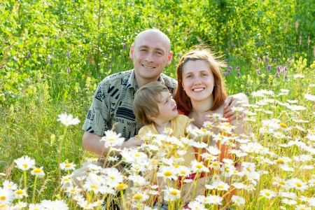 Happy family of three in camomile plant photo