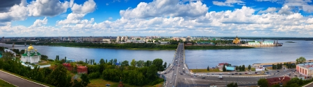 oka: Panorama of Nizhny Novgorod. Kanavinsky bridge and Junction of Oka river with Volga River Stock Photo