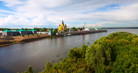 kreml: View of old Nizhny Novgorod and junction of Oka river with Volga River. Russia