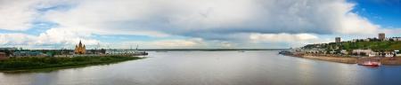 nizhni novgorod: View of old Nizhny Novgorod and junction of Oka river with Volga River. Russia