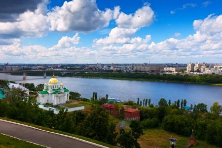 nizhni novgorod: View of Nizhny Novgorod with Metro Bridge through Oka River. Russia Stock Photo