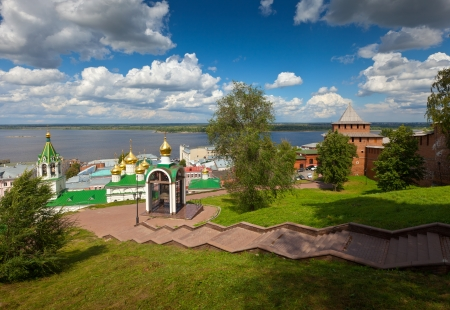 kreml:  historic district of Nizhny Novgorod and  Volga river in summer sunny day. Russia Editorial
