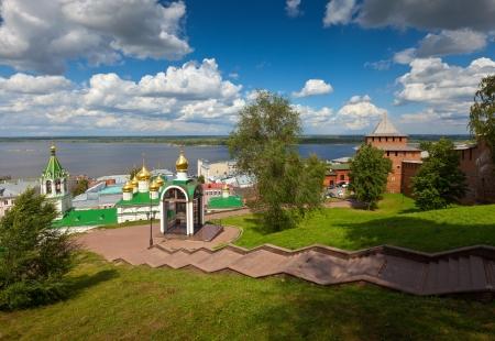 historic district of Nizhny Novgorod and  Volga river in summer sunny day. Russia Stock Photo - 14740206