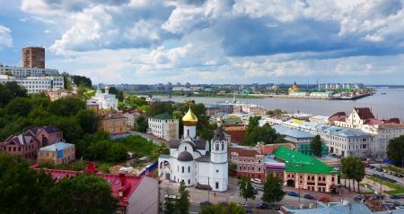 nizhni novgorod: Summer view of old district of Nizhny Novgorod and Junction of Oka river with Volga River. Russia  Stock Photo