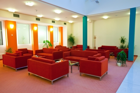 Hall in hotel with red   armchair Stock Photo - 14740212
