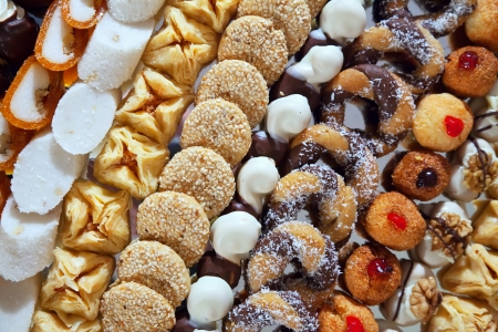banquets: Different fancy cakes on banquet table Stock Photo