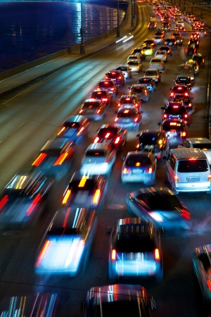 slow-moving traffic on night road Stock Photo - 14741353