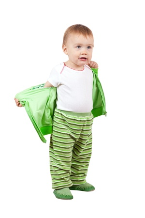 Year-old child standing over white background photo