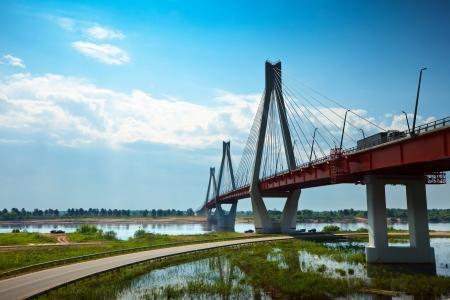 oka: Murom cable bridge through Oka River,  length of bridge about 1400 meters  Russia Editorial