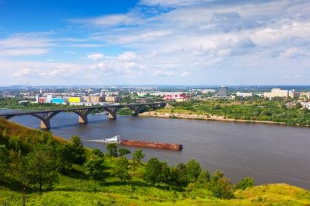 nizhni novgorod: View of Nizhny Novgorod with Molitovsky bridge through Oka River. Russia