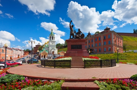 Monument to Minin and Pozharsky at Nizhny Novgorod in summer sunny day. Russia