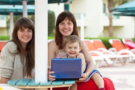 happy girls   sitting  with laptop at resort   photo