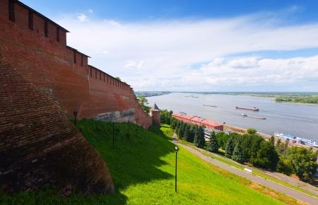 kreml: Kremlin wall and junction of Oka river with Volga at Nizhny Novgorod in summer. Russia