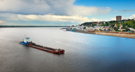 kreml: Summer view of Nizhny Novgorod and Junction of Oka river with Volga River. Russia