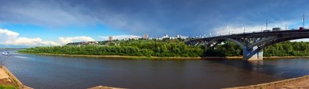 Panorama of Nizhny Novgorod with Kanavinsky bridge through Oka River. Russia photo