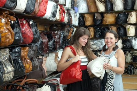 Two women chooses leather bag at  shop Stock Photo - 14744621