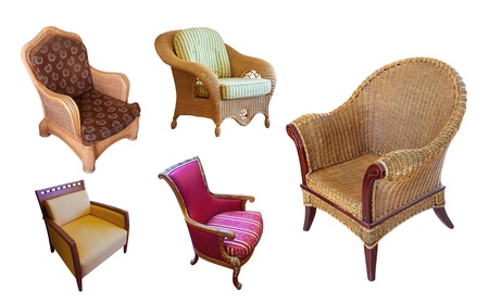 Set of vintage armchair. Isolated over white background with clipping path photo