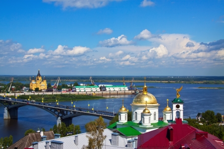 View of Nizhny Novgorod. Kanavinsky bridge and Junction of Oka river with Volga River photo