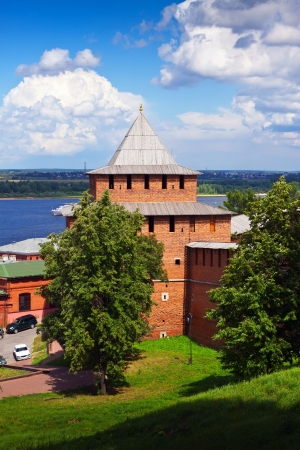 kreml: Kremlin wall and Volga at Nizhny Novgorod in summer. Russia Editorial