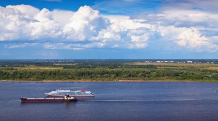 the volga river: View from the steep banks of the Volga in Nizhny Novgorod