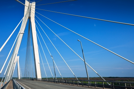 oka: Murom cable bridge through Oka River,  length of bridge about 1400 meters. Russia Stock Photo