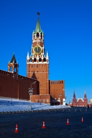 Spasskaya Tower of Moscow Kremlin at Red Square in Moscow. Russia Stock Photo - 15183430