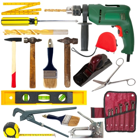 screwdriwer: set of working tools. Isolated over white background  Stock Photo