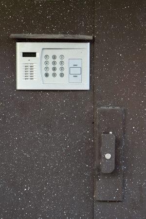 building steel door with intercom photo