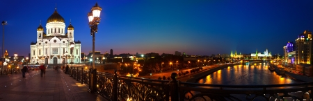 Panoramic view of Moscow. Christ the Savior Cathedral and Kremlin in night. Russia