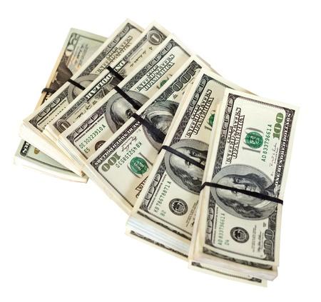 Many bundles of US dollars bank notes. Isolated on white background Stock Photo - 14926877
