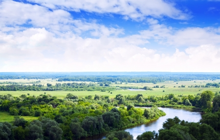 klyazma: Summer landscape with river under cloudy sky Stock Photo